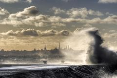 Tallin on the water. Stormy weather at Baltic sea coats. Wind speed about 30km/h Stock Photography