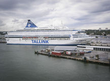 Tallink Ferry in harbor Stock Photo