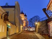 tallinn Старая средневековая улица на зоре Стоковая Фотография
