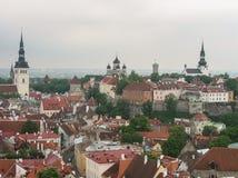 tallinn эстония взгляд города панорамный Церковь и башня, красные крыши на фото стоковые фотографии rf