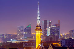 Tallinn. Aerial view of the city at sunset. Stock Images