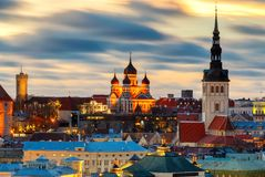 Tallinn. The Alexander Nevsky Cathedral on Toompea Hill. Aerial view of the old town and Toompea hill at dawn. Tallinn. Estonia Stock Photography