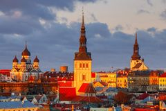 Tallinn. The Alexander Nevsky Cathedral on Toompea Hill. Aerial view of the old town and Toompea hill at dawn. Tallinn. Estonia Stock Image