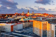 Tallinn. The Alexander Nevsky Cathedral on Toompea Hill. Aerial view of the old town and Toompea hill at dawn. Tallinn. Estonia Royalty Free Stock Image
