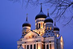Alexander Nevsky Cathedral domes. Toompea. Tallinn. Estonia. Tallinn is the capital and largest city of Estonia; the Old Town is one of the best preserved royalty free stock photo