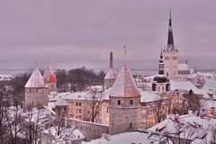 Old town winter view from Patkuli viewing platform. Tallinn. Estonia. Tallinn is the capital and largest city of Estonia; the Old Town is one of the best stock images