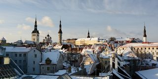 Old town cityscape. Panorama from Helleman tower. Tallinn. Estonia. Tallinn is the capital and largest city of Estonia; the Old Town is one of the best preserved stock photo