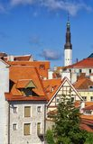 The red roofs of the Old Town of Tallinn in sunny summer day. Tallinn is the capital and largest city of Estonia. Tallinn`s Old Town is one of the best Stock Photo