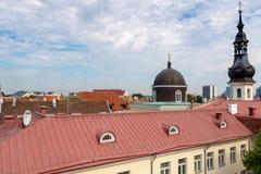 TALLINN, CC$ESTONIA CZERWIEC 26, 2015: Widok StMary kościół fotografia royalty free