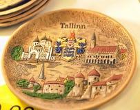 Tallinn ceramic souvenir plate Stock Images