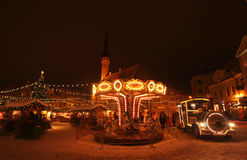 Tallinn Christmas market with carousel Stock Photography