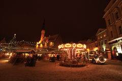 Tallinn Christmas market with train Stock Images