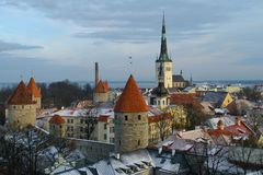 Tallinn. The church of St. Olaf is considered a symbol of Tallinn. The church in its present form has a height of 123 meters. According to the decree of the city Stock Photos