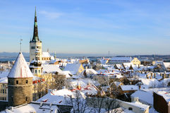 Tallinn city panoramic winter landscape Stock Photos
