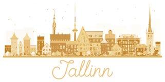 Tallinn City skyline golden silhouette. Stock Photo
