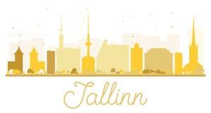 Tallinn City skyline golden silhouette. Stock Image