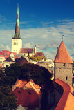Tallinn city street in autumn Royalty Free Stock Images