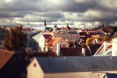Tallinn city street in autumn tilt-shift stock image