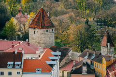 Tallinn city towers and roofs from above by autumn day Stock Photography