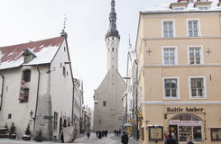 Tallinn in de winter stock afbeelding