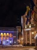 Tallinn en la noche en invierno Imágenes de archivo libres de regalías