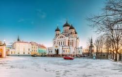Tallinn, Estónia Opinião da manhã Alexander Nevsky Cathedral famoso imagens de stock royalty free