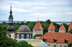 TALLINN/ESTÔNIA - 27 de julho de 2013: Igreja da transfiguração de nosso senhor em Tallinn ao lado da parede medieval da cidade Imagem de Stock Royalty Free