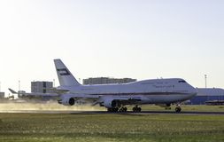 Tallinn, Estônia - 31 de maio de 2018: Ar real Wing Boeing 747 de Dubai Fotografia de Stock Royalty Free