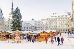 TALLINN, ESTÔNIA -6 JANEIRO DE 2016: Decoração do Natal no T fotografia de stock royalty free