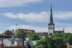 Tallinn, Estônia - 6 de julho de 2016: Ruas, casas e telhados de Tallinn no dia de verão fotografia de stock