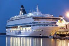 TALLINN, ESTLAND - AUGUSTUS 16, 2018: Tallinkveerboten bij de haven royalty-vrije stock afbeeldingen