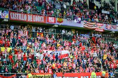 TALLINN, ESTLAND - 15 Augustus, 2018: Ventilators van Atletico Madrid in t Royalty-vrije Stock Foto's