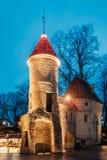 Tallinn, Estland Berühmtes Markstein Viru-Tor in der Straßenbeleuchtung an der Abend-oder Nachtbeleuchtung Stockfoto