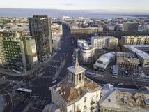 TALLINN ESTLAND - 01, 2018 flyg- cityscape av den moderna affären Royaltyfria Foton