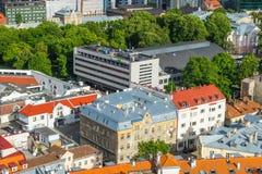 TALLINN ESTLAND - 05 07 2017 flyg- sikt av Tallinn i en beauti Royaltyfria Bilder