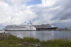 Tallinn, Estland 10 JULI: Het schip van de Zuiderdamcruise in haven van Lang Royalty-vrije Stock Afbeeldingen