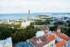 TALLINN, ESTLAND - JULI 22, 2015: Luchtpanorama van Talli royalty-vrije stock foto
