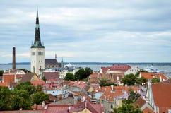 TALLINN/ESTLAND - Juli 27, 2013: Mening bij de oude stad de Kerk van van Tallinn, St Olaf op achtergrond Stock Foto
