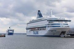 TALLINN, ESTLAND - JUNI 27, 2018: Tallinkveerboten Silja Europa royalty-vrije stock afbeeldingen