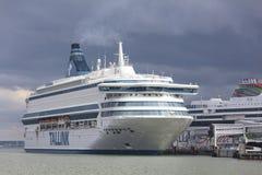 TALLINN, ESTLAND - JUNI 27, 2018: Tallinkveerboten Silja Europa royalty-vrije stock fotografie