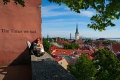 Tallinn Estland-Juni 14, 2016 - unga omfamna par sitter på observationsdäck Royaltyfri Foto