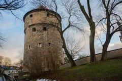 Tallinn Estland: Kiek i de Kok Museum och bastiontunneler i medeltida Tallinn defensiv stadsvägg fotografering för bildbyråer