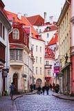 TALLINN ESTLAND - NOVEMBER 11 Gatorna av den gamla staden med Arkivbild