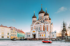 Tallinn, Estland Ochtendmening van Alexander Nevsky Cathedral De beroemde Orthodoxe Kathedraal is Grootste Tallinn ` s en royalty-vrije stock fotografie