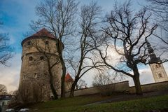 TALLINN ESTLAND: St Nicholas 'kyrka, Niguliste kirik Kiek i de Kok Museum och bastiontunneler i medeltida Tallinn defensiv arkivfoto