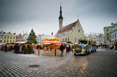 TALLINN, ESTONIA � DECEMBER 08: People enjoy Christmas market Stock Photography