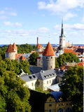 Tallinn, Estonia. Panoramic view over Tallinn's Old Town and it's medieval towers Royalty Free Stock Photos