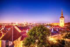 Tallinn, Estonia: aerial top view of the old town Royalty Free Stock Image