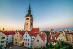Tallinn, Estonia: aerial top view of the old town at night Royalty Free Stock Photos