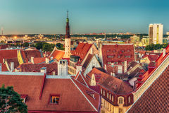 Tallinn, Estonia: aerial top view of the old town at night Stock Photos